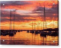 Fiery Lake Norman Sunset Acrylic Print
