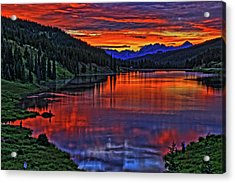 Acrylic Print featuring the photograph Fiery Lake by Scott Mahon