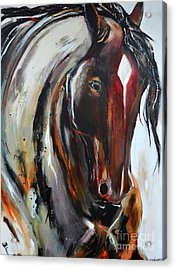 Acrylic Print featuring the painting Fiery Red Head by Cher Devereaux