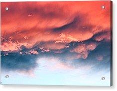 Fiery Storm Clouds Acrylic Print by Tracie Kaska