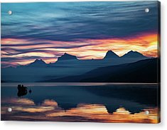 Acrylic Print featuring the photograph Fiery Sunrise At Mcdonald Lake, Gnp by Lon Dittrick