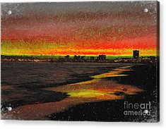 Acrylic Print featuring the digital art Fiery Sunset by Mariola Bitner