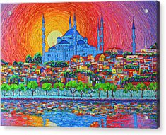 Fiery Sunset Over Blue Mosque Hagia Sophia In Istanbul Turkey Acrylic Print