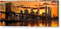 Fiery Sunset Over Manhattan  Acrylic Print by Az Jackson
