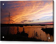 Fiery Sunset Over Seagull Lake Acrylic Print by Larry Ricker