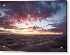 Fiery Sunset Over The Dunes Acrylic Print by Aaron Spong