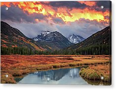 Fiery Uinta Sunset Acrylic Print by Johnny Adolphson