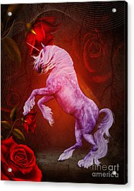 Fiery Unicorn Fantasy Acrylic Print by Smilin Eyes  Treasures