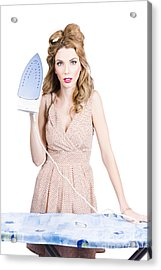 Fifties Housewife Woman Ironing Clothes Acrylic Print