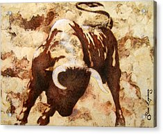 Fight Bull Acrylic Print by J- J- Espinoza
