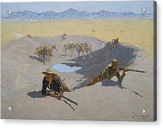 Fight For The Waterhole Acrylic Print by Frederic Remington