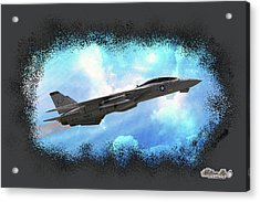 Acrylic Print featuring the photograph Fighter Jet F-14 In The Clouds by William Havle