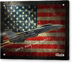Acrylic Print featuring the digital art Fighter Jet F14 Kick Butt by William Havle