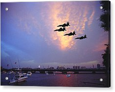 Fighter Jets Over Boston Acrylic Print by Rose Martin