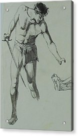 Acrylic Print featuring the painting Figure Drawing 1961. by Mike Jeffries
