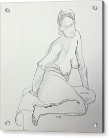 Figure Drawing Class Acrylic Print by Janet Butler
