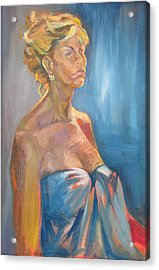 Figure In Blue Acrylic Print by Julie Orsini Shakher
