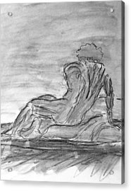 Figure Sketch In Monochrome Black White Arched And Curved Twisted Back Leaning On One Hand In Seated Acrylic Print
