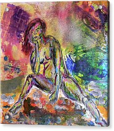 Acrylic Print featuring the mixed media Figure Study 3 by Lisa McKinney