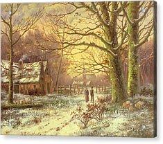 Figures On A Path Before A Village In Winter Acrylic Print by Johannes Hermann Barend Koekkoek