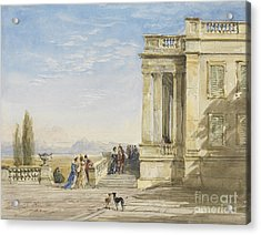 Figures On A Terrace With Greyhounds Acrylic Print
