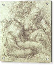 Figures Study For The Lamentation Over The Dead Christ, 1530 Acrylic Print by Michelangelo