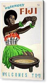 Fiji Restored Vintage Travel Poster Acrylic Print