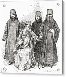Filaret Drozdov And His Three Sons Acrylic Print by Vintage Design Pics