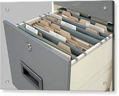 Filing Cabinet Drawer Open Tax Acrylic Print
