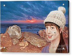 Filipina Beauty At The Beach During Sunset Acrylic Print