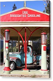Filling Up The Old Ford Jalopy At The Associated Gasoline Station . Nostalgia . 7d12884 Acrylic Print by Wingsdomain Art and Photography