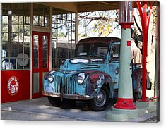 Filling Up The Old Ford Jalopy At The Associated Gasoline Station . Nostalgia . 7d13021 Acrylic Print by Wingsdomain Art and Photography