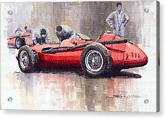 Final Check Before The Start Maserati 250 F 1957 Acrylic Print by Yuriy  Shevchuk