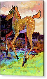 Acrylic Print featuring the painting Finding His Legs by Bob Coonts