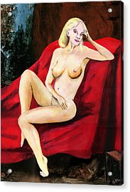 Fine Art Female Nude Seated On Red Drapery Acrylic Print by G Linsenmayer