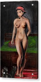 Fine Art Female Nude Standing With Cats Acrylic Print by G Linsenmayer
