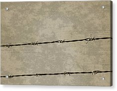 Fine Art Photograph Barbed Wire Over Vintage News Print Breaking Out  Acrylic Print