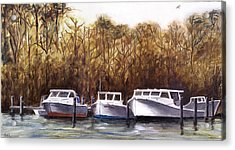 Acrylic Print featuring the painting Fine Art Traditional Oil Painting 3 Workboats Chesapeake Bay by G Linsenmayer