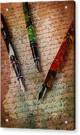 Fine Fountain Pens Acrylic Print by Garry Gay