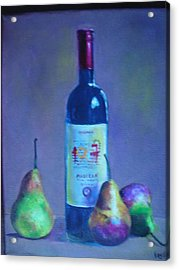 Fine Wine Paintings - A French Wine With Pears Acrylic Print by Virgilla Lammons