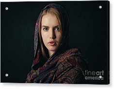 Fineart Portrait Of A Beautiful Young Blonde Woman With Scarf On Dark Background. Acrylic Print by Rostyslav Zabolotnyi