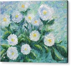 Finger Painted Garden Flowers Acrylic Print