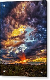 Finger Painted Sunset Acrylic Print