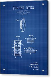 Finger Ring Patent From 1928 - Blueprint Acrylic Print by Aged Pixel