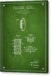 Finger Ring Patent From 1928 - Green Acrylic Print
