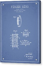 Finger Ring Patent From 1928 - Light Blue Acrylic Print