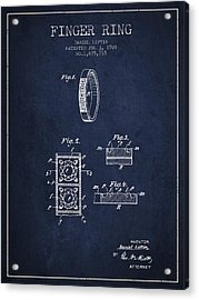 Finger Ring Patent From 1928 - Navy Blue Acrylic Print