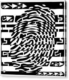 Fingerprint Scanner Maze Acrylic Print by Yonatan Frimer Maze Artist