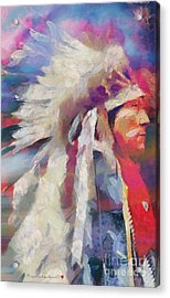 Finished Indian Feathers Painting Acrylic Print by Catherine Lott