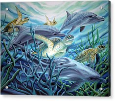 Fins And Flippers Acrylic Print